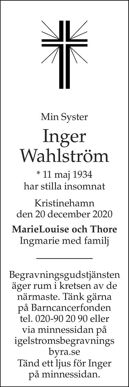 Inger Wahlström Death notice