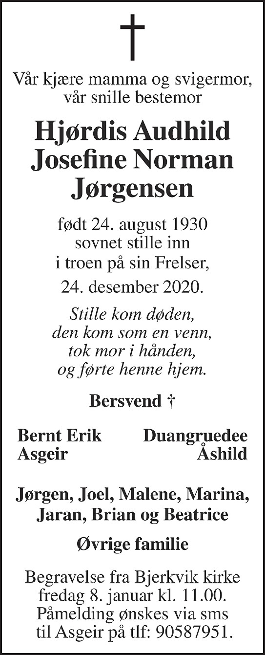 Hjørdis Audhild Josefine Norman Jørgensen Dødsannonse