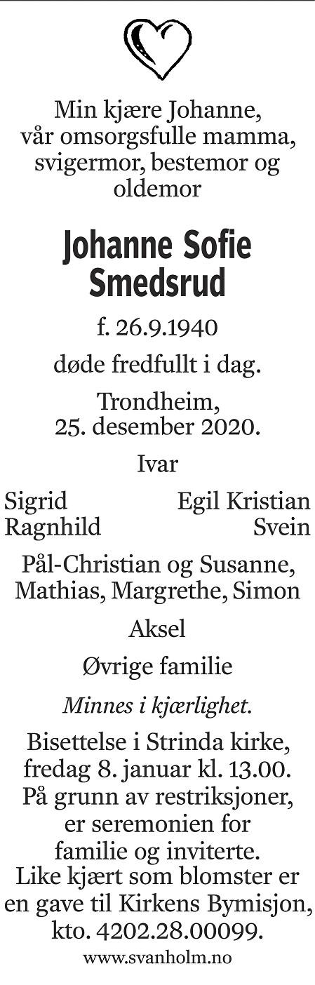 Johanne Sofie Smedsrud Dødsannonse
