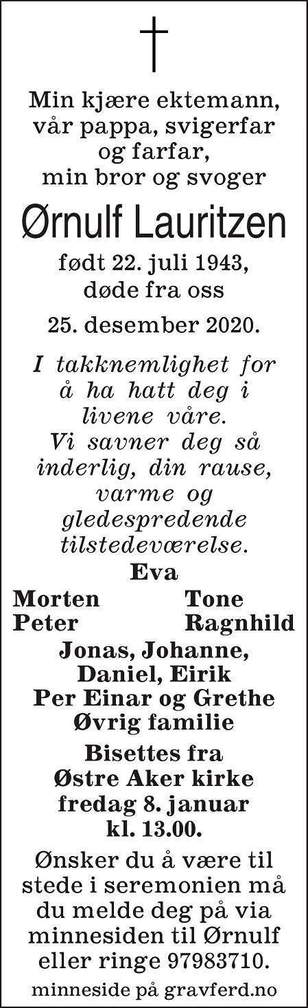 Ørnulf Lauritzen Dødsannonse