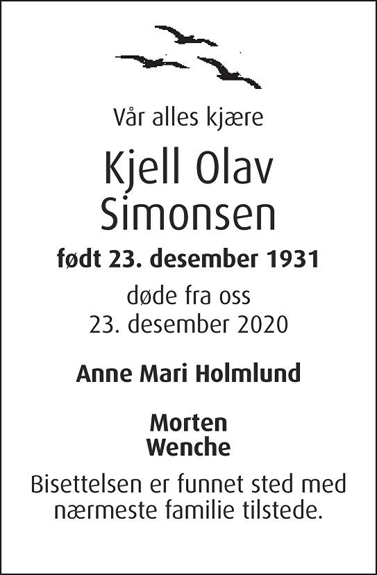 Kjell Olav Simonsen Dødsannonse