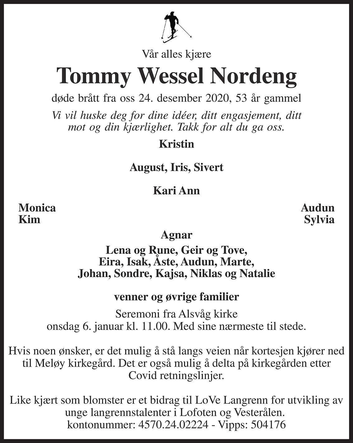 Tommy Wessel Nordeng Dødsannonse