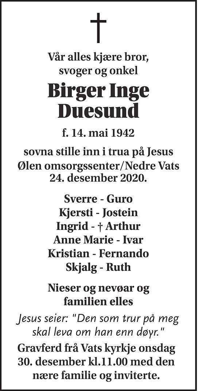 Birger Inge Duesund Dødsannonse