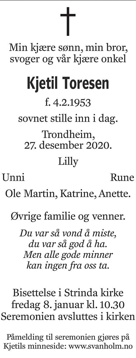 Kjetil Toresen Dødsannonse