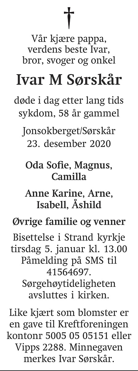 Ivar M Sørskår Dødsannonse