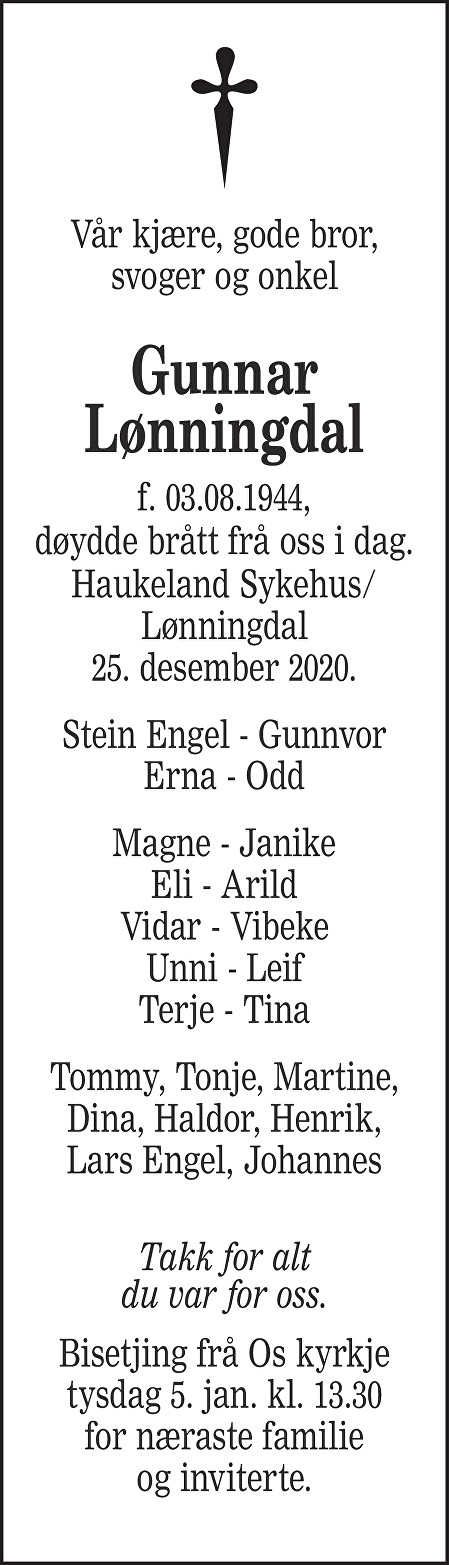 Gunnar Lønningdal Dødsannonse