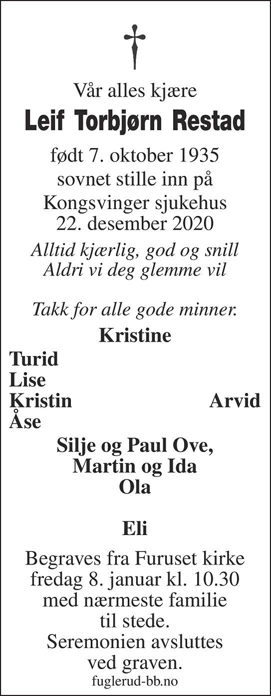 Leif Torbjørn Restad Dødsannonse