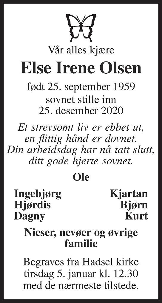 Else Irene Olsen Dødsannonse