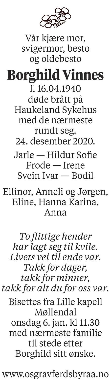 Borghild Vinnes Dødsannonse