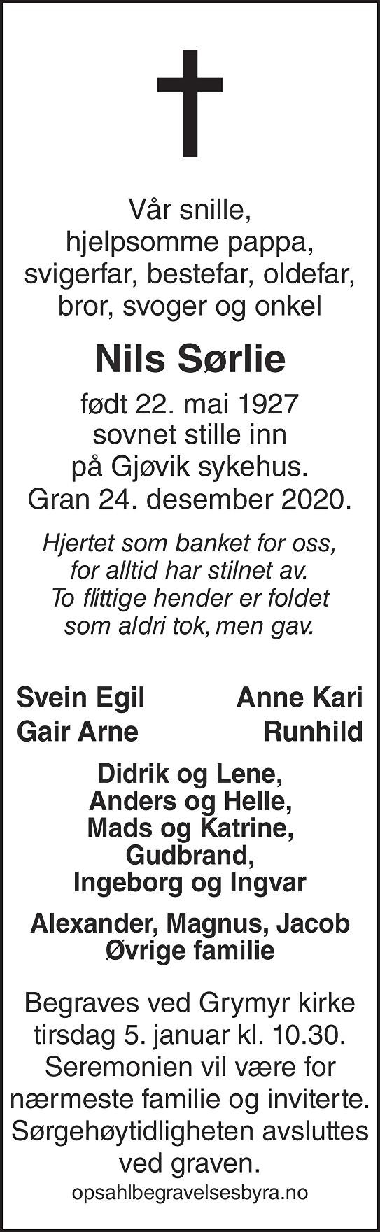 Nils Sørlie Dødsannonse