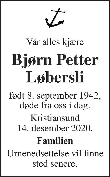 Bjørn Petter Løbersli Dødsannonse