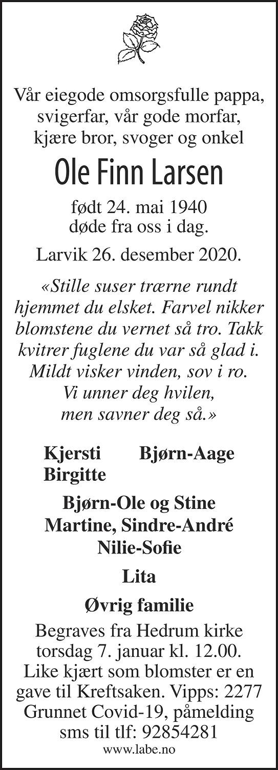 Ole Finn Larsen Dødsannonse