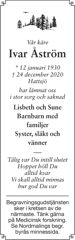 Ivar Åström Death notice