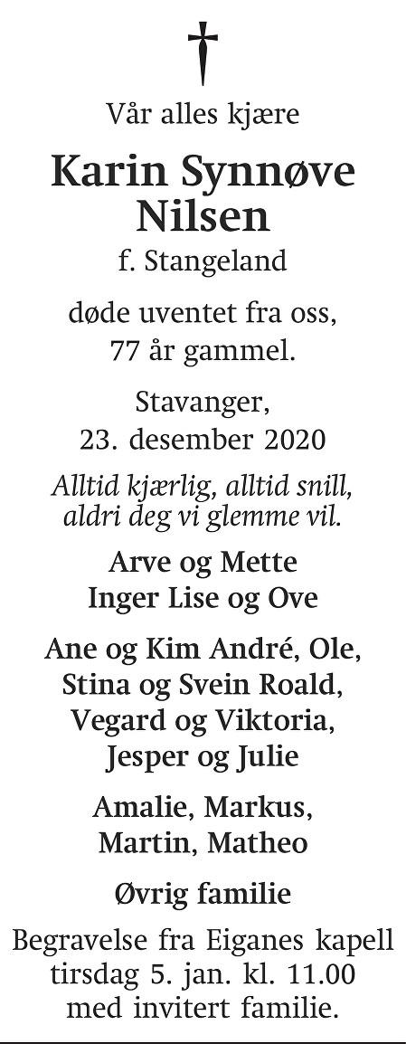 Karin Synnøve Nilsen Dødsannonse