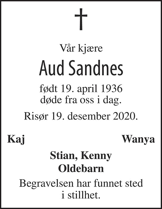 Aud Olanda Sandnes Dødsannonse