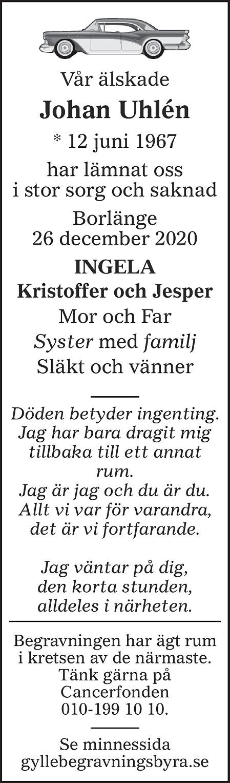 Johan  Uhlén Death notice