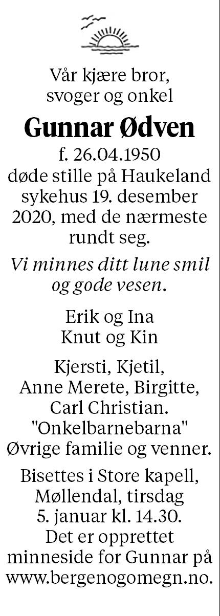 Gunnar Ødven Dødsannonse