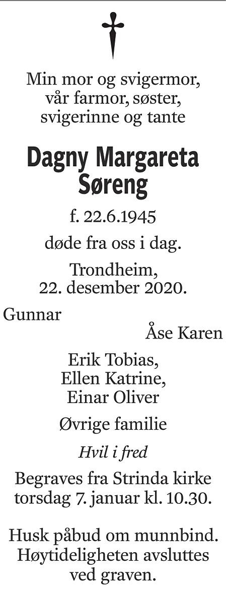 Dagny Margareta Søreng Dødsannonse