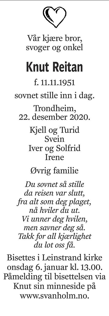 Knut Reitan Dødsannonse