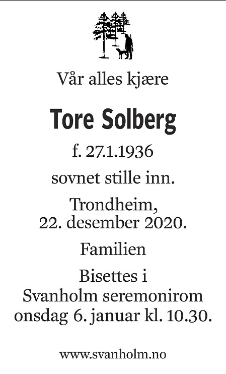 Tore Solberg Dødsannonse