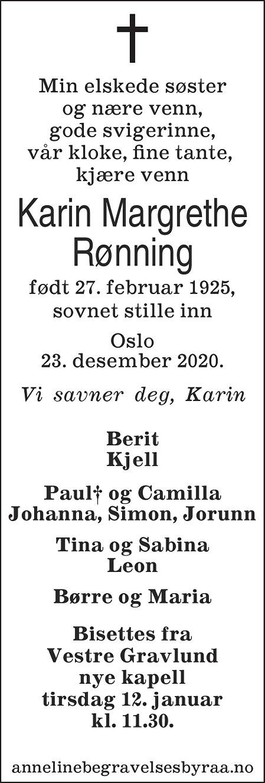 Karin Margrethe Rønning Dødsannonse