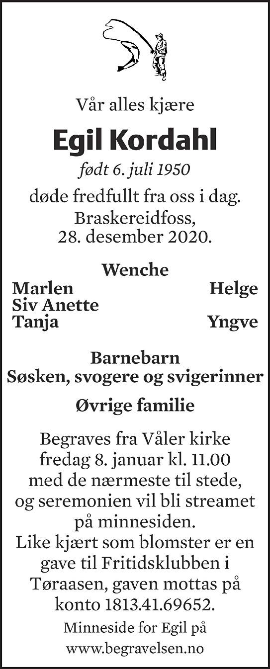 Egil Kordahl Dødsannonse