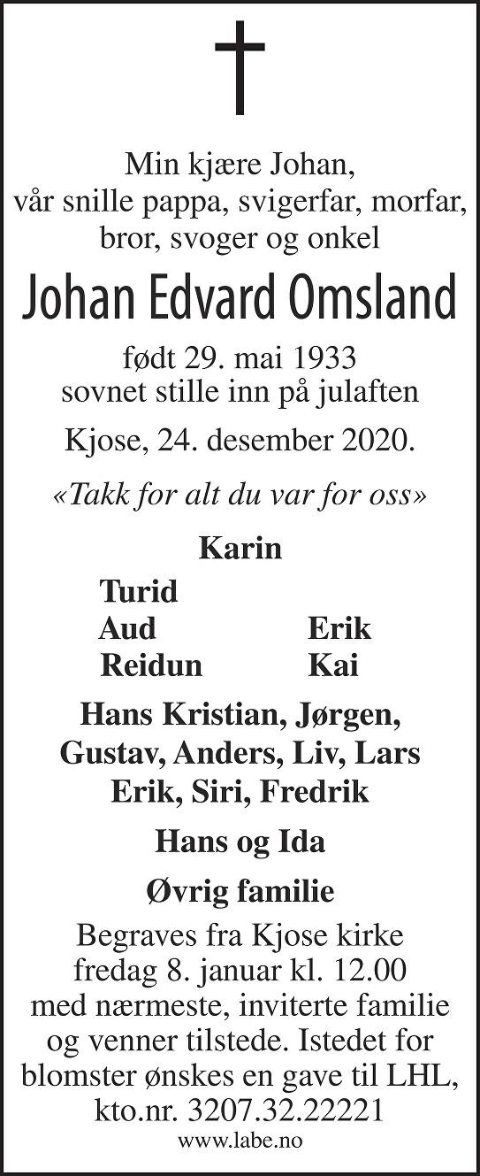 Johan Omsland Dødsannonse