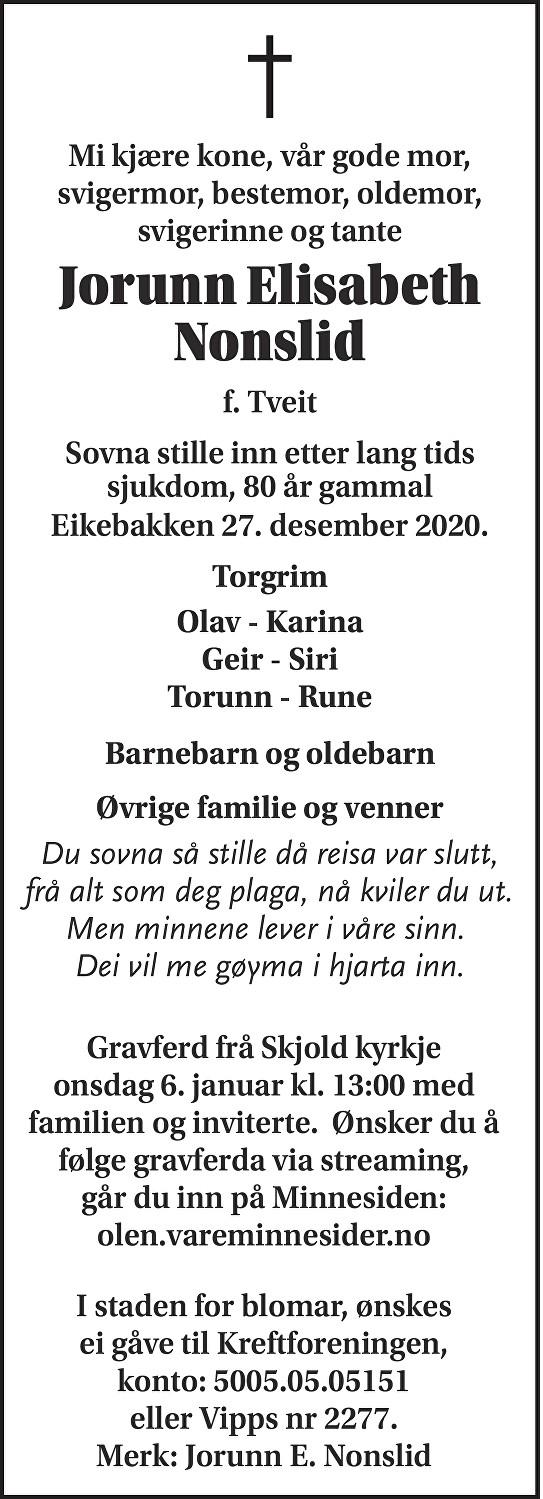Jorunn Elisabeth Nonslid Dødsannonse