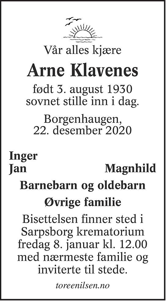 Arne Klavenes Dødsannonse