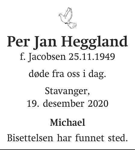 Per Jan  Heggland Dødsannonse