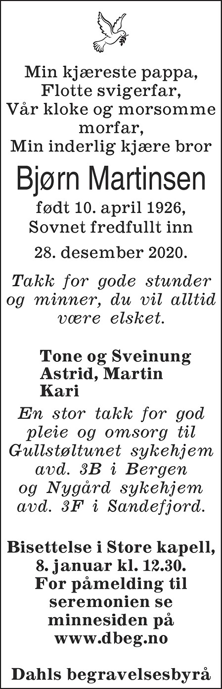 Bjørn Martinsen Dødsannonse