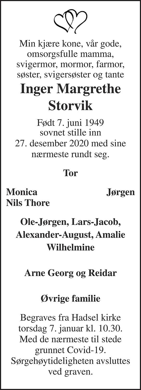 Inger Margrethe Storvik Dødsannonse
