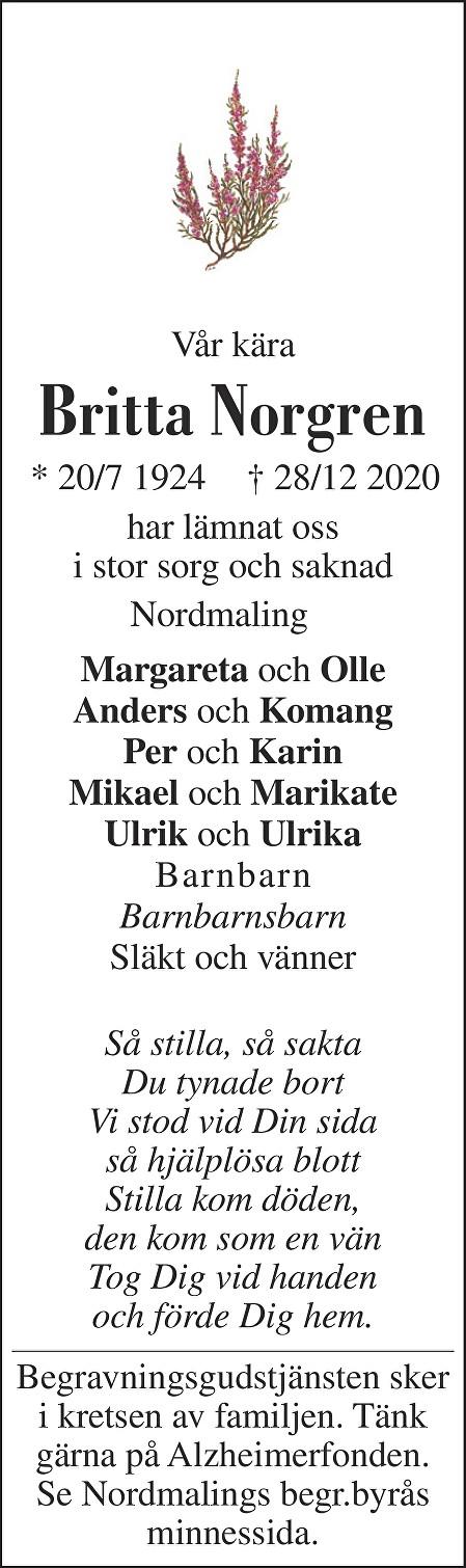 Britta Norgren Death notice