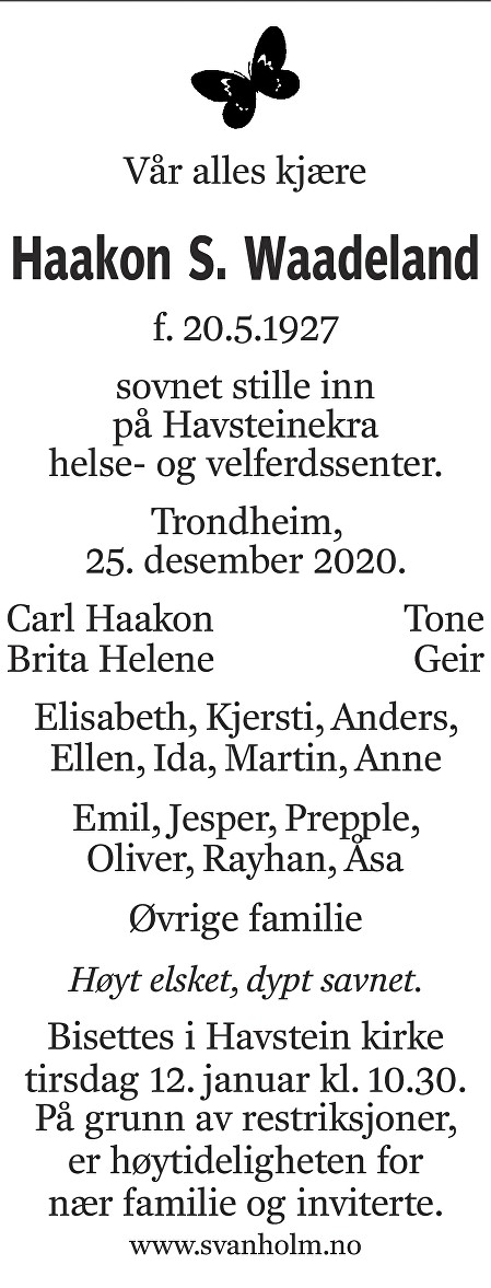 Haakon Salomon Waadeland Dødsannonse