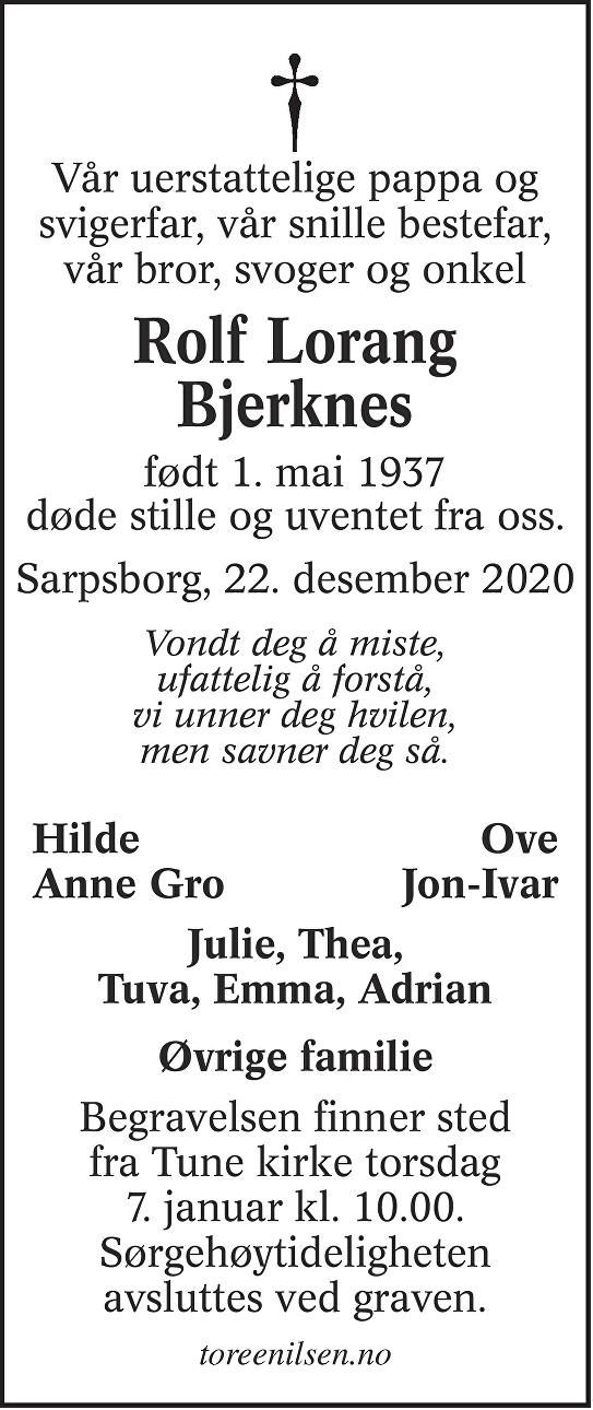 Rolf Lorang Bjerknes Dødsannonse