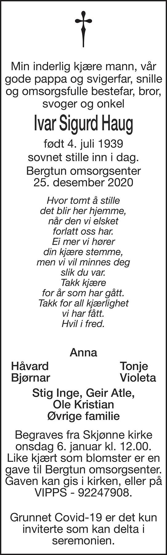 Ivar Sigurd Haug Dødsannonse