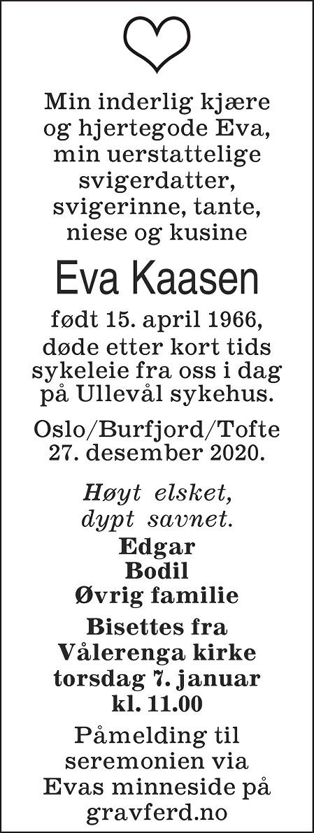 Eva Kaasen Dødsannonse