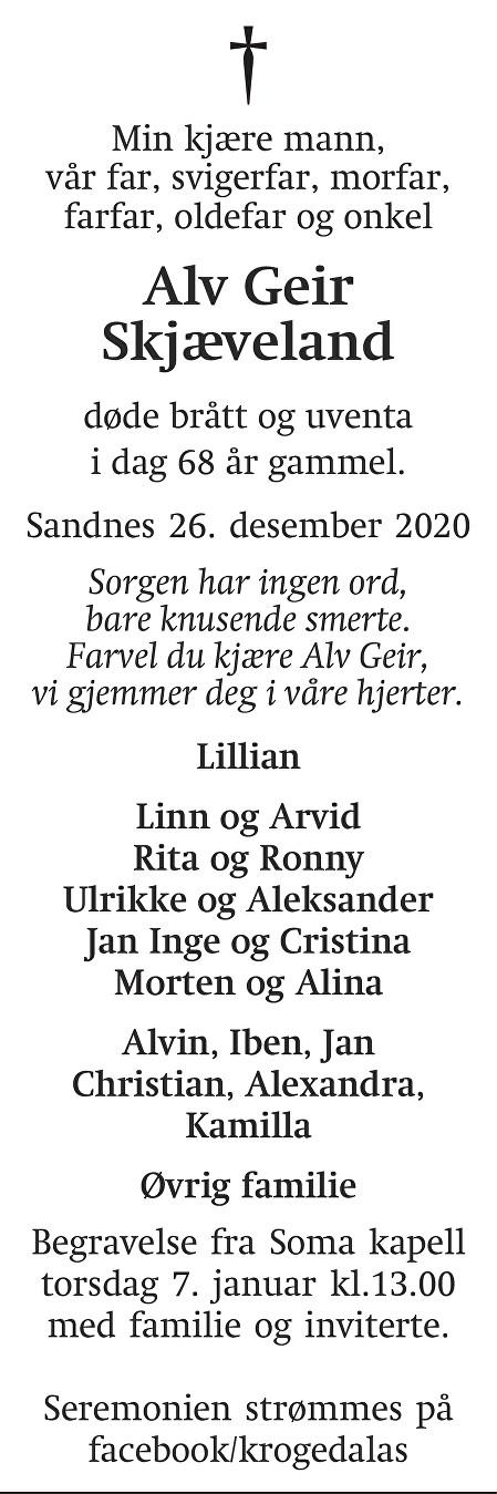 Alv Geir Skjæveland Dødsannonse