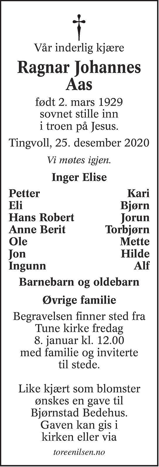 Ragnar Johannes Aas Dødsannonse