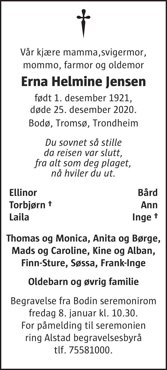 Erna Helmine Jensen Dødsannonse