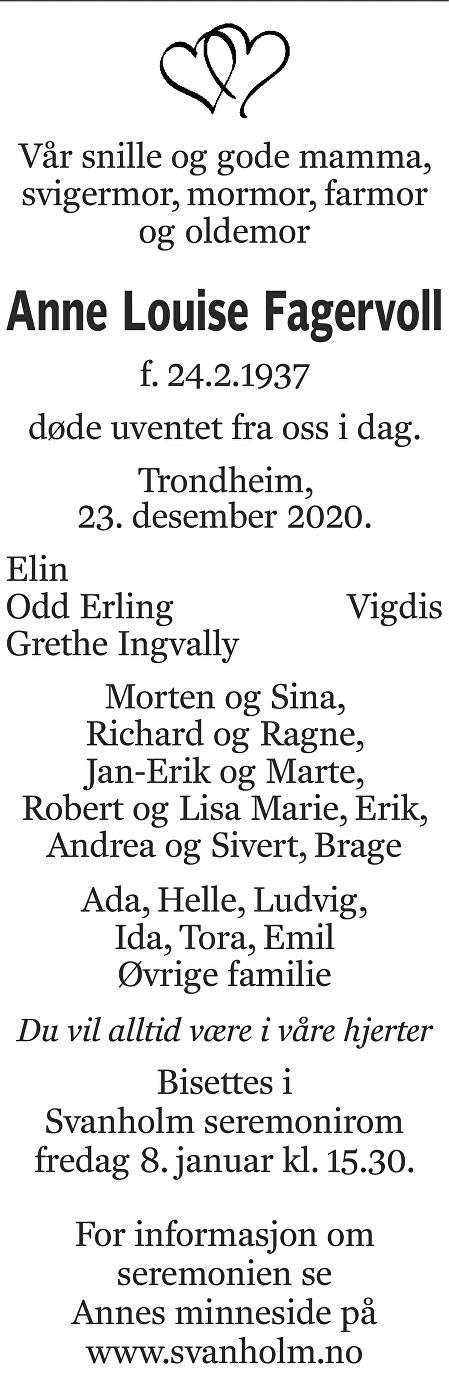 Anne Louise Fagervoll Dødsannonse