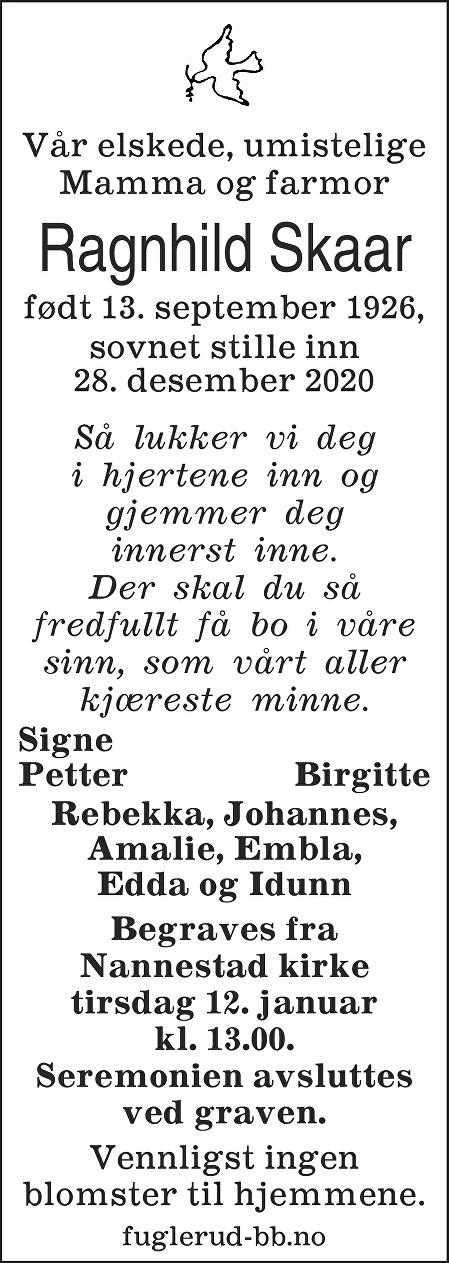 Ragnhild Rebekka Skaar Dødsannonse