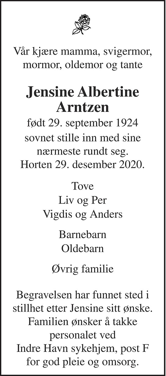 Jensine Albertine Arntzen Dødsannonse