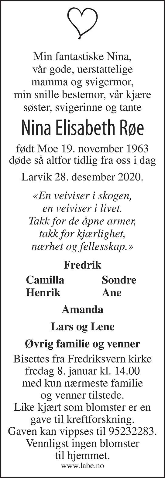 Nina Elisabeth Røe Dødsannonse
