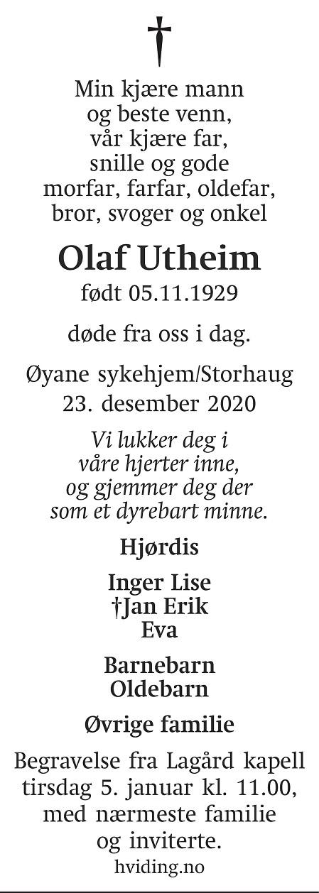 Olaf Utheim Dødsannonse
