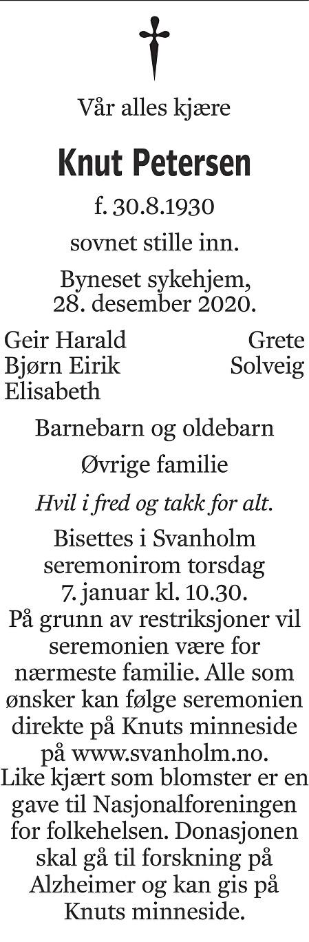 Knut Petersen Dødsannonse