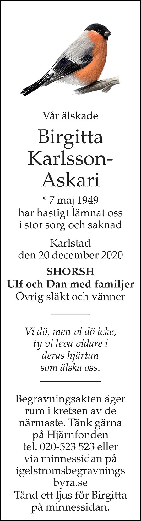 Birgitta Karlsson-Askari Death notice