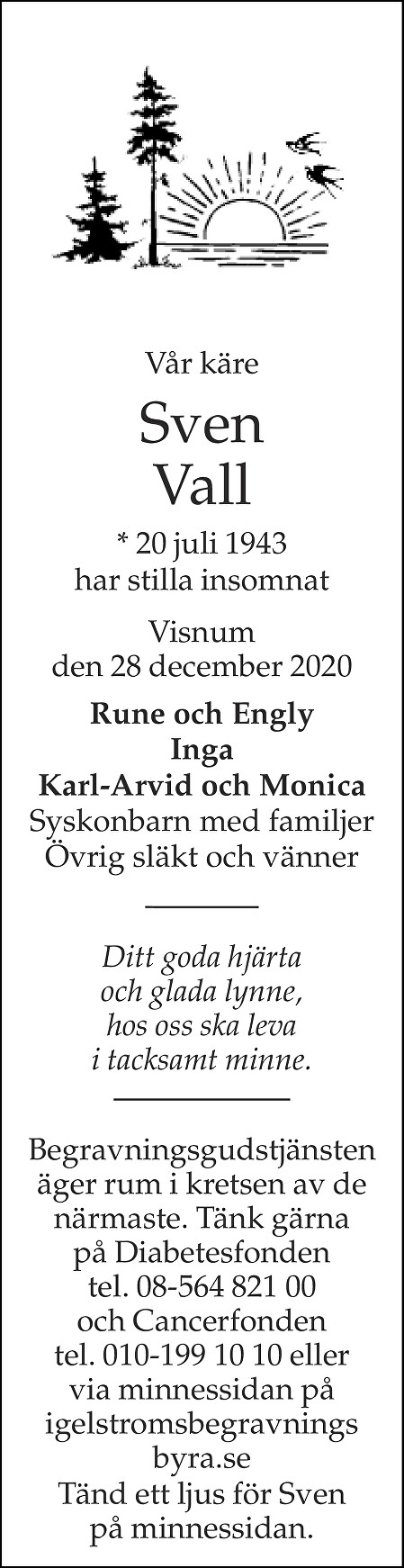 Sven Vall Death notice