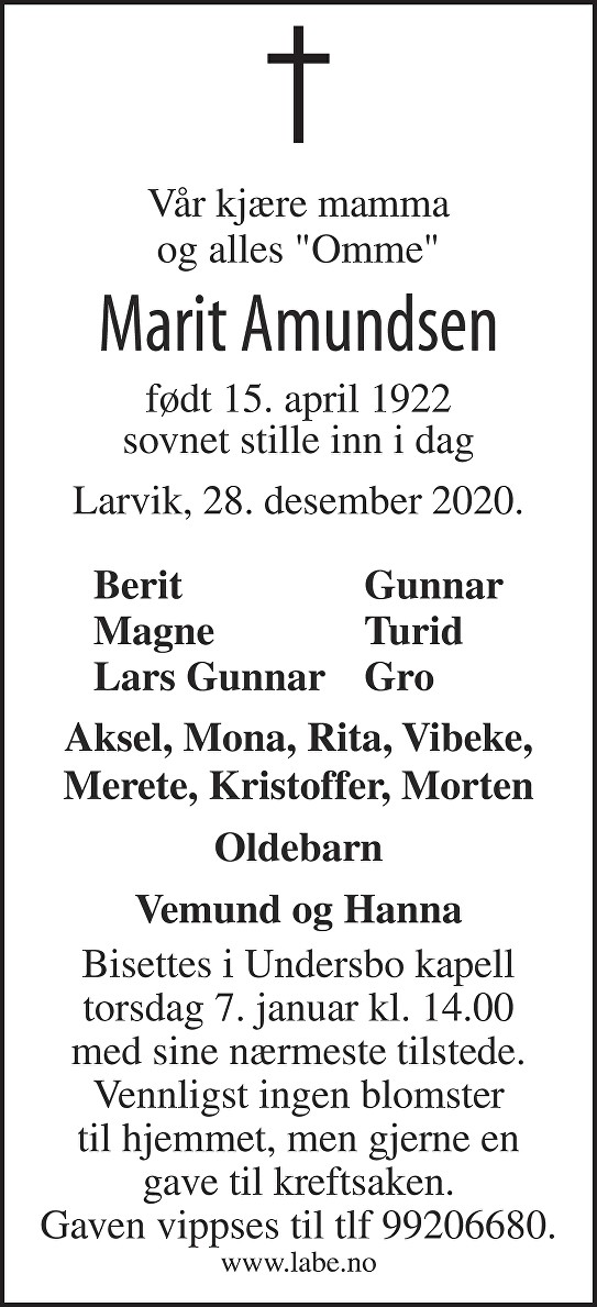 Marit Amundsen Dødsannonse