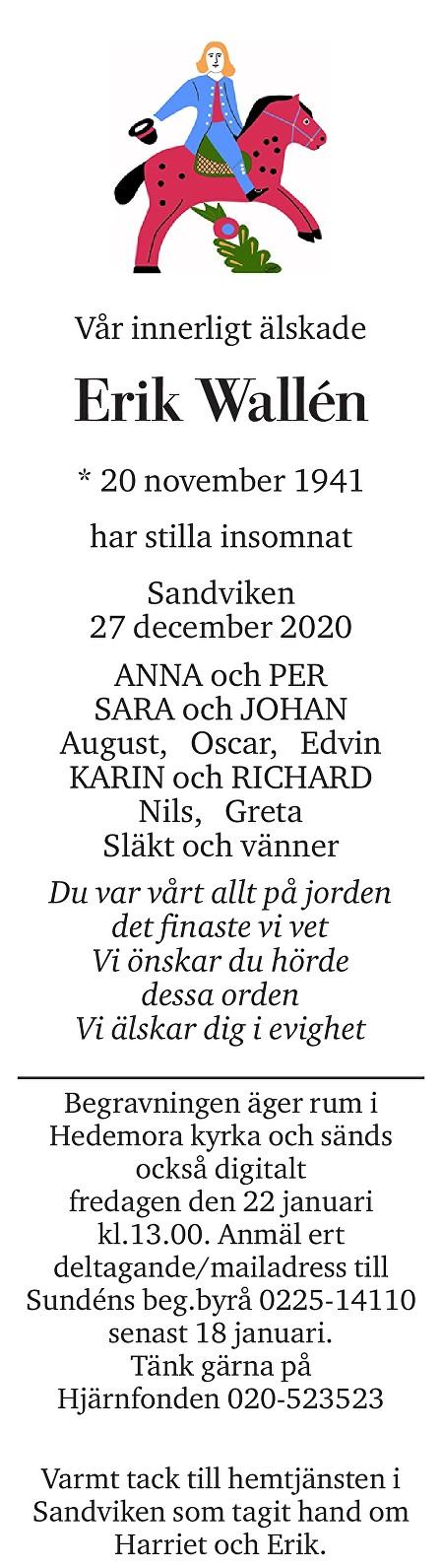 Erik Wallén Death notice